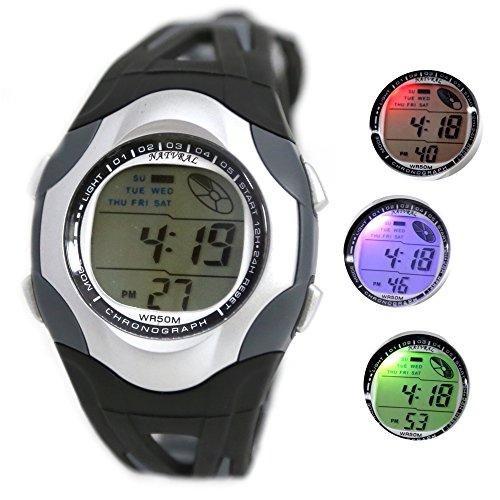 10dw313l PNP matt silber Watchcase Wasser widerstehen Herren Frauen 100 getestet 3 ATM Digitale Armbanduhr Black mit Dark Gray