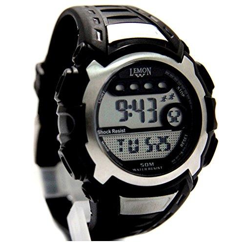 10dw326 C Datum Alarm Hintergrundbeleuchtung PNP matt silber Luenette Wasser widerstehen Herren Digitale Armbanduhr