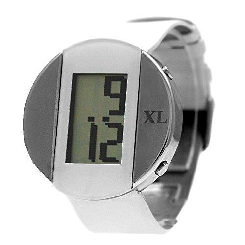 10dw340 F New Weiss Band Rund PNP glaenzend Silber Watchcase Datum Unisex Digitale Armbanduhr