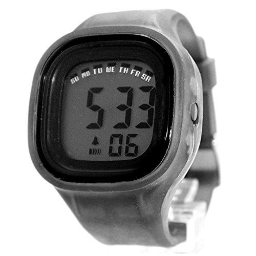 10dw358 C Chronograph Hintergrundbeleuchtung Schwarz Luenette Silikon Grau Band Unisex Digitale Armbanduhr