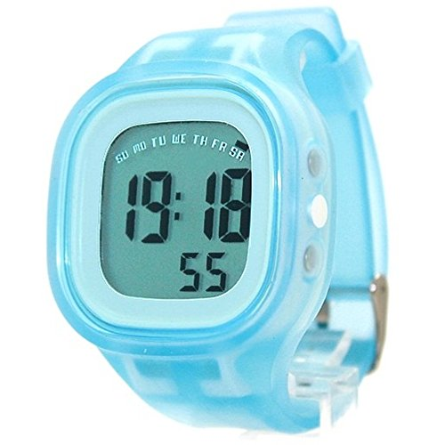 10dw358b Alarm Hintergrundbeleuchtung weiss Luenette Silikon Hellblau Band Unisex Digitale Armbanduhr