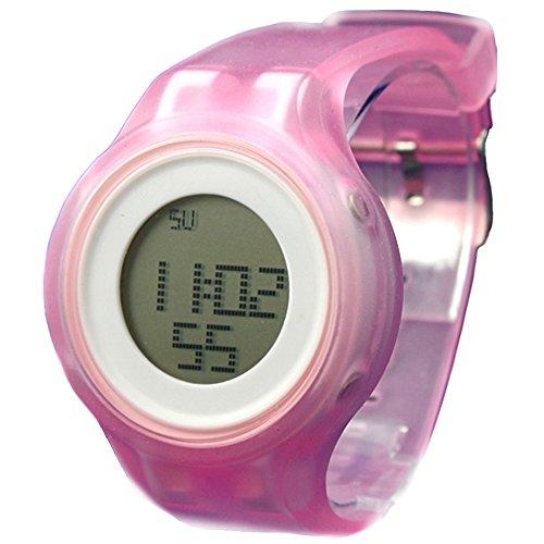 10dw363 a rund weiss Watchcase Alarm Silikon Band Rosa Damen Frauen Digitale Armbanduhr