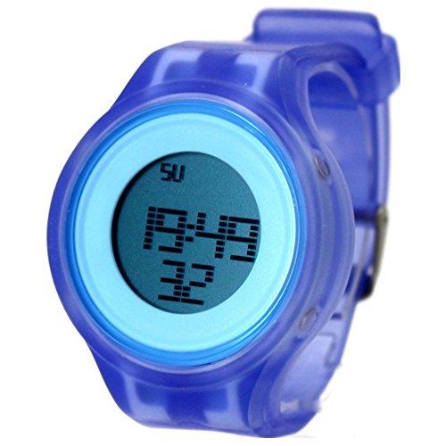 10dw363b blau Watchcase Alarm Hintergrundbeleuchtung Silikon Blau Band Herren Damen