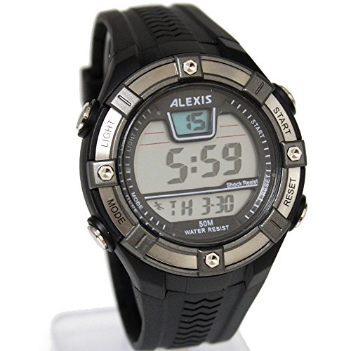 10dw381d Datum Alarm Hintergrundbeleuchtung PNP matt silber Luenette Wasser widerstehen Herren Digitale Armbanduhr
