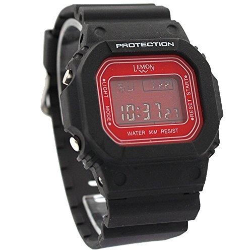 10dw391j schwarz Watchcase Alarm Hintergrundbeleuchtung Wasser widerstehen schwarz Band Herren Digitale Armbanduhr