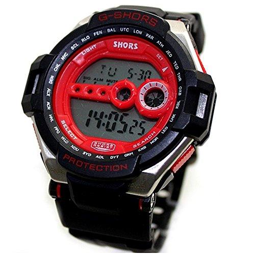 10dw412 a schwarz Band Schwarz Watchcase Chronograph Alarm Rot Luenette Herren Digitale Armbanduhr
