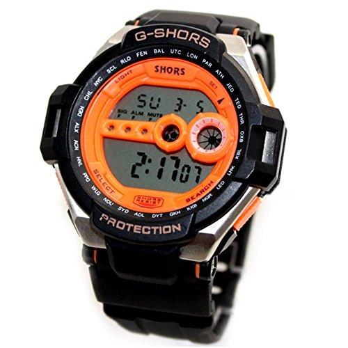 10dw412b schwarz Watchcase Chronograph Alarm Hintergrundbeleuchtung Schwarz Luenette Herren Digitale Armbanduhr