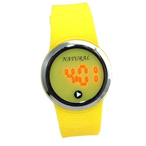 10dw418 C natuerlichen PNP Glaenzendes Silber Watchcase LED Silikon Gelb Band