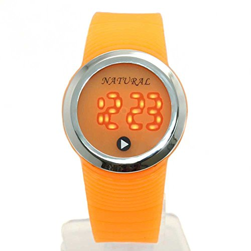 10dw418h natuerlichen PNP Glaenzendes Silber Watchcase LED Silikon Orange Band