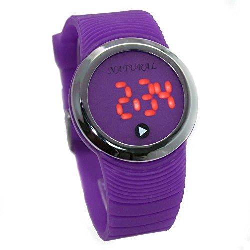 10dw418i natuerlichen PNP Glaenzendes Silber Watchcase LED Silikon Violett Band Digital Armbanduhr