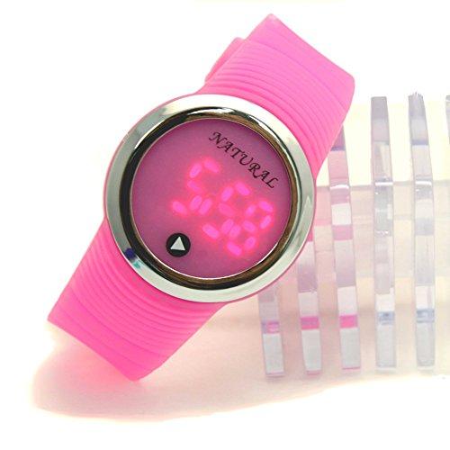 10dw418j PNP glaenzend Silber Watchcase LED Silikon Band Rosa Herren Damen Digital Armbanduhr