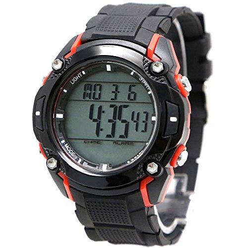 10dw437b Hintergrundbeleuchtung Schwarz Luenette Frauen 100 geprueft 3 ATM ROT SCHWARZ FALL Digital Armbanduhr