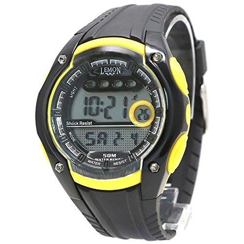 10dw441 C Chronograph Datum Hintergrundbeleuchtung Wasser widerstehen Damen Frauen Gelb Digitale Armbanduhr