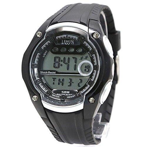 10dw441 a schwarz Watchcase Datum Alarm Hintergrundbeleuchtung Wasser widerstehen Herren Schwarz