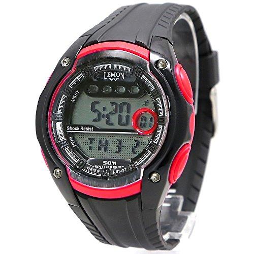 10dw441b schwarz Watchcase Datum Alarm Hintergrundbeleuchtung Wasser widerstehen Frauen Rot Digital Armbanduhr