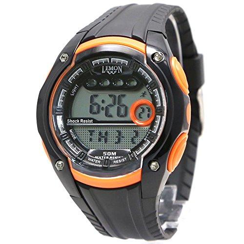 10dw441e Chronograph Datum Alarm Hintergrundbeleuchtung Wasser widerstehen weiblich Orange Digitale Armbanduhr