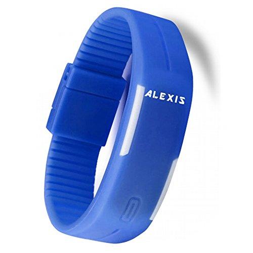 10dw447 C rechteckig Blau Watchcase LED Silikon Blau Band Herren Damen