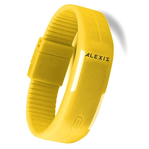 10dw447 F rechteckig gelb Watchcase Silikon Gelb Band Herren Damen Digital Armbanduhr