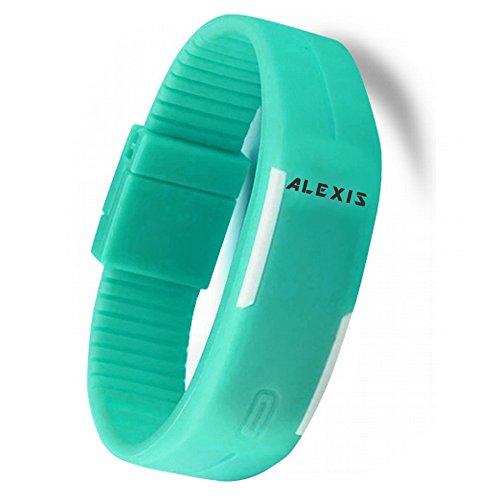 10dw447h hellblau Watchcase LED Silikon Hellblau Band Herren Damen Digital Armbanduhr