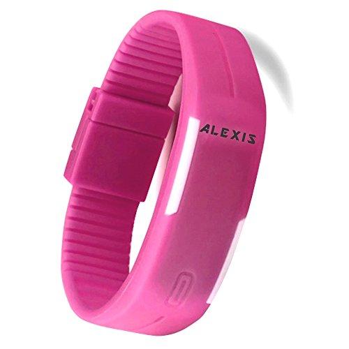 10dw447i New rechteckig magenta Watchcase LED Silikon Magenta Band Digital Armbanduhr