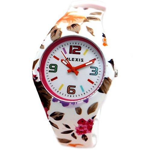 10FW922C Alexis Armbanduhr rund PNP glaenzend Silberfarben Uhrgehaeuse aus Silikon Weiss Bunt modisch