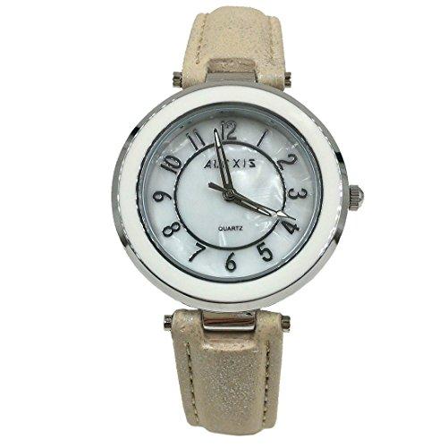 10FW961A Neues weisses Vorwahlknopf weisses Band PNP glaenzende silberne Uhrengehaeuse Dame Art und Weiseuhr