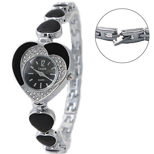 PNP glaenzende silberne Uhrgehaeuse Schwarz Vorwahlknopf Kristallherz Kasten Armband Uhr
