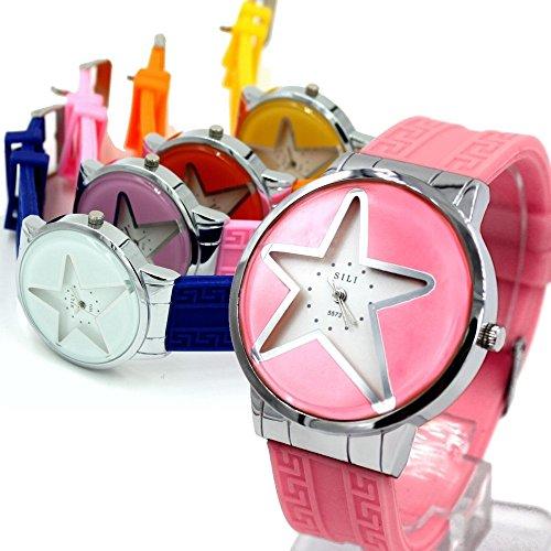 PNP glaenzende silberne Uhrgehaeuse Silikon Rosa Band Dame Frauen Mode Uhr