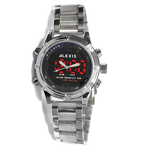 10AW8025 Premier Alexis digitale Premier Herrenuhr mit Datumsanzeige LED Hintergrundbeleuchtung wasserfest duale Zeitanzeige