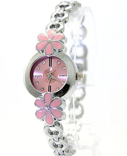Rosa Zifferblatt Dame Frauen Blumen Muster Fall Kristallvorwahlknopf Armband Uhr