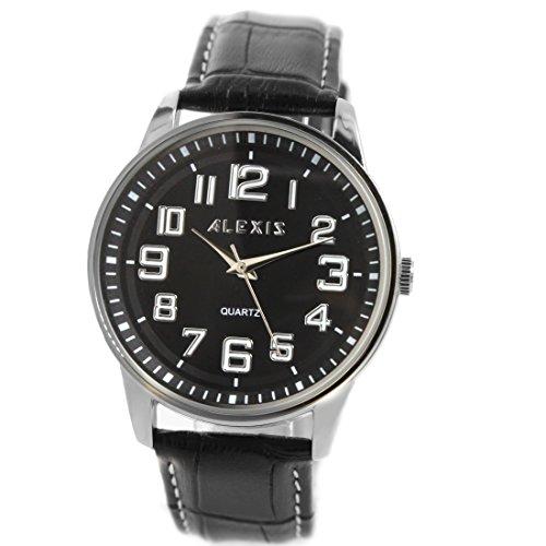 Schwarz Band PNP glaenzende silberne Uhrgehaeuse Wasser Widerstand Jungen Maedchen Mode Uhr