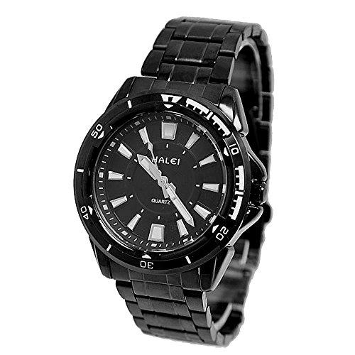 Zifferblatt schwarz Schwarz Band runde schwarze Uhrgehaeuse Mann Uhr