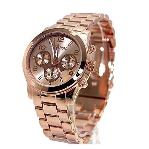 Armbanduhr 10FW839B Unisex Edelstahl mit Rotgold ueberzogen wasserabweisend