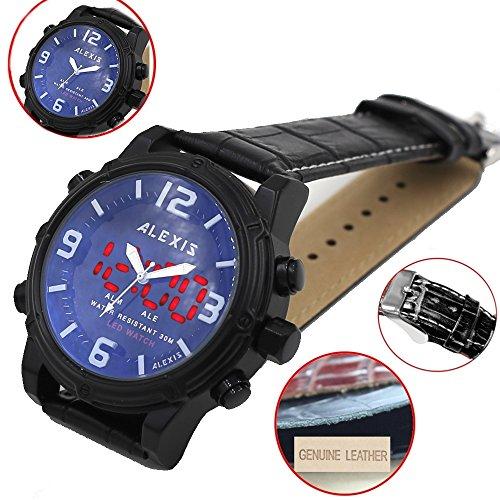 Date LED BackLight Water Resist Men Dual Time Alexis Analog Digital Watch