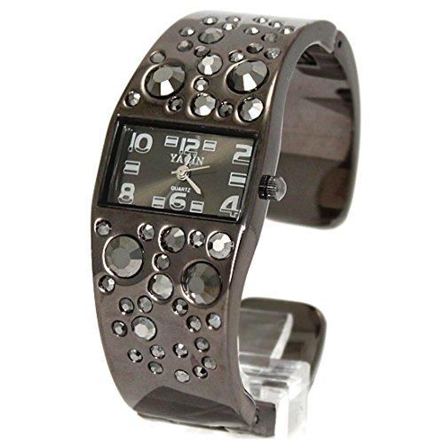 New Black Dial Gunmetal Band Gunmetal Tone Uhrgehaeuse Frauen Armband Uhr