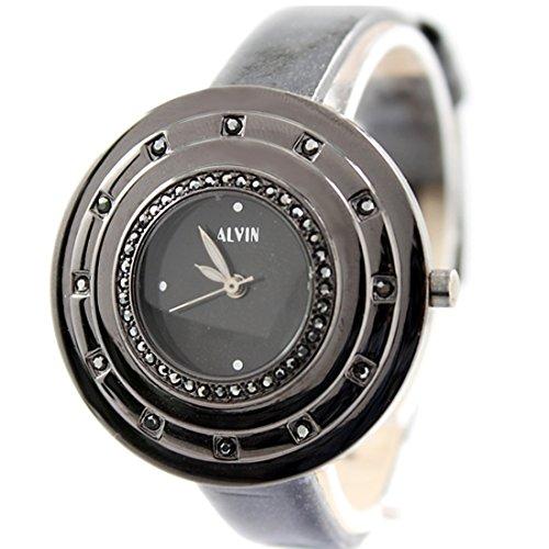 New Black Dial Schwarz Band runde Metall Schwarz Uhrgehaeuse Frauen Mode Uhr