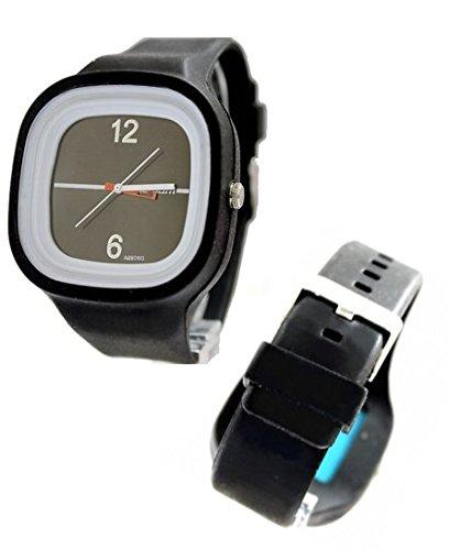 New Black Dial Weiss Uhrgehaeuse Silikon Schwarz Band Jungen Maedchen Mode Uhr