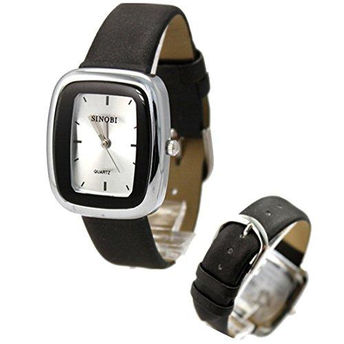 New Black Band Rechteck PNP glaenzende silberne Uhrgehaeuse Frauen Mode Uhr