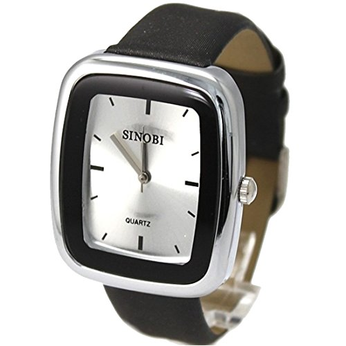 New Black Band Rechteckige PNP glaenzende silberne Uhrgehaeuse Herren Mode Uhr