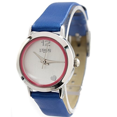 Dial Weiss Blau Band PNP glaenzende silberne Uhrgehaeuse duenne Dame Mode Uhr