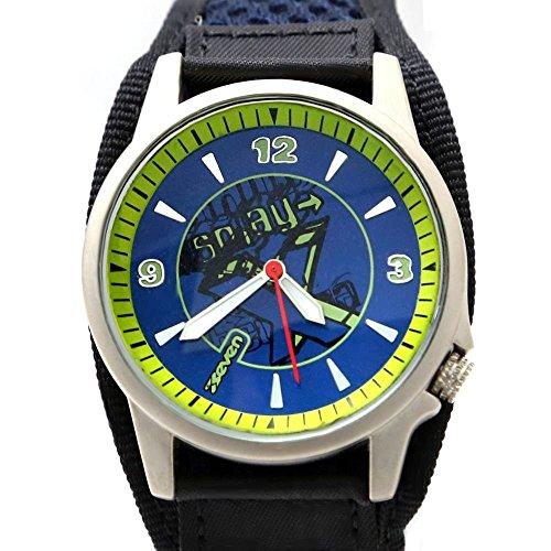New Blau Schwarz Band PNP glaenzende silberne Uhrgehaeuse Damen Mode Uhr Dial