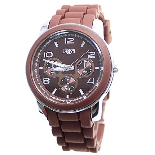 Dial Brown PNP glaenzende silberne Uhrgehaeuse Silikon Brown Band Mode Uhr