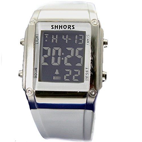 Chronograph Datum Alarm Hintergrundbeleuchtung Gunmetal Ton Luenette Unisex Digitaluhr