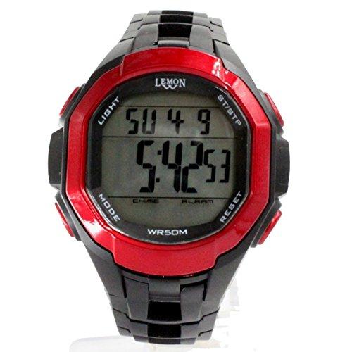 DEDW448A Chronograph Alarm BackLight Rote Luenette Wasser widerstehen Junge Maedchen Digitaluhr