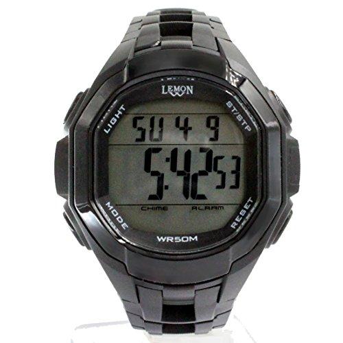 DEDW448B Schwarzes Uhr Fall Datum BackLight Schwarzes Anzeigetafel Wasser Widerstand Mann Digitaluhr