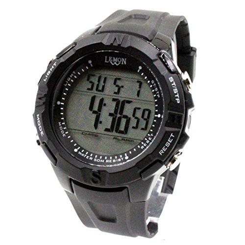 DEDW451B Schwarzes Uhr Kasten Datum BackLight Schwarzes Anzeigetafel Wasser Widerstand Mann Digitaluhr