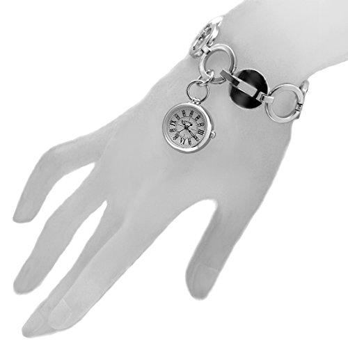 DEFW605F NATUERLICHE PNP glaenzende silberne Uhr Kasten weisse Vorwahlknopf Frauen Frauen Armband Uhr