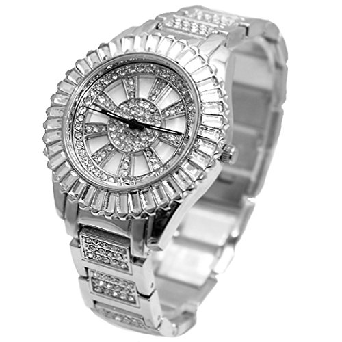 DEFW855B Neue Matte Silver Dial Frauen rechteckigen Kristall Stein Luenette Armbanduhr