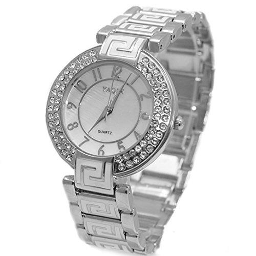 DEFW856B Glaenzendes silbernes Band weisse Vorwahlknopf Damen Frauen stilvolle Kristallarmband Uhr