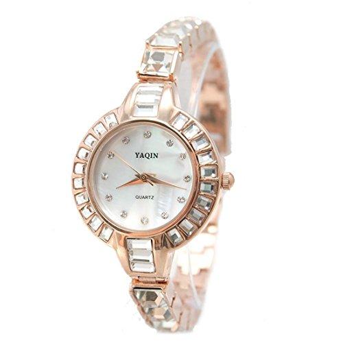 DEFW864A Neue runde Rose Goldtone Uhr Kasten weisse Vorwahlknopf Damen Frauen Armband Uhr